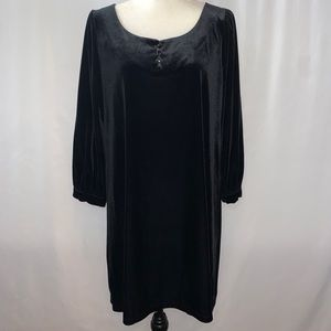 Context Black Velvet Long Sleeve Dress Size Large